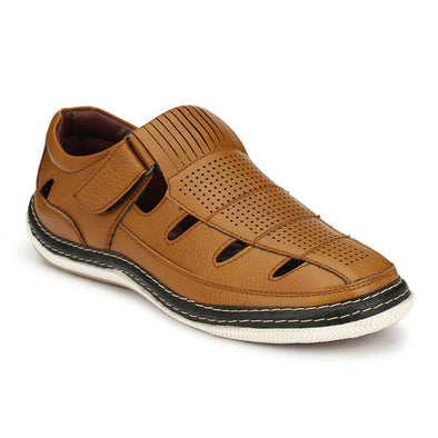 Men Tan Perforated & Grooved Roman Sandals 2903