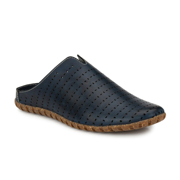 Men Blue Laser Perforated Sandals 2401