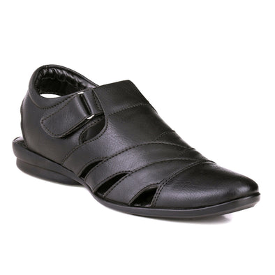 Men Black Crisscrossed Roman Sandals 8003
