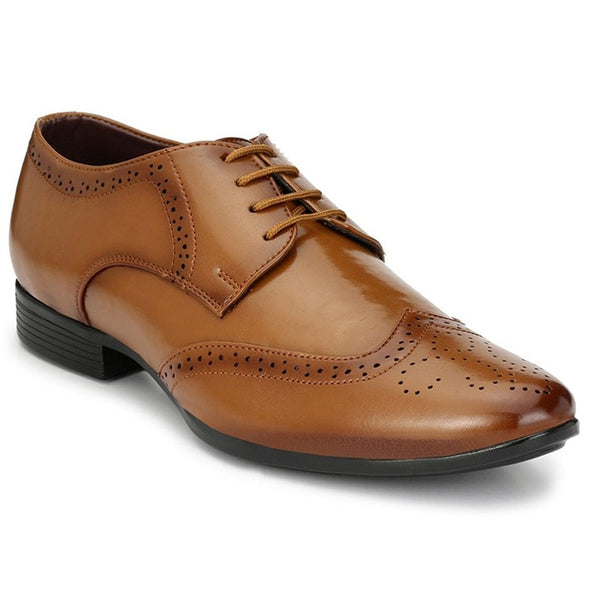 Men Tan Formal Brogue Shoes 1803