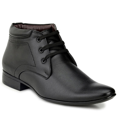 Men Black High Ankle Formal Lace up Shoes fr12