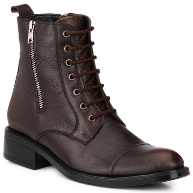 Men Brown Genuine Leather Chain & Lace up Biker Boots 1558