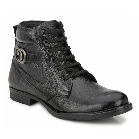 Men Black Genuine Leather Lace up Boots 7040