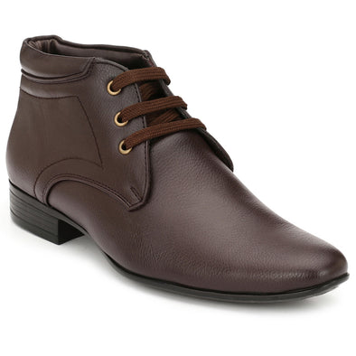 Men Brown High Ankle Formal Lace up Shoes fr12