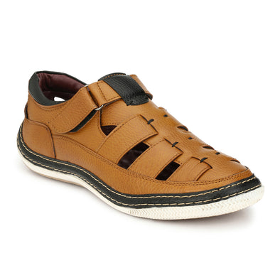 Men Tan Perforated & Grooved Roman Sandals 2904