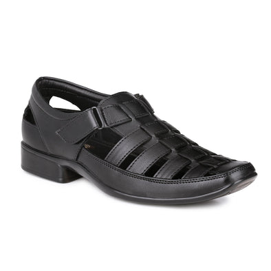 Men Black Fisherman Hook & Loop Sandals 5501