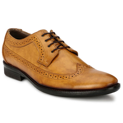 Men Tan Formal Brogue Shoes 2703