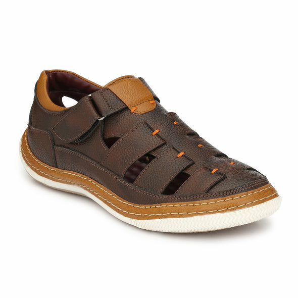 Men Brown Perforated & Grooved Roman Sandals 2904