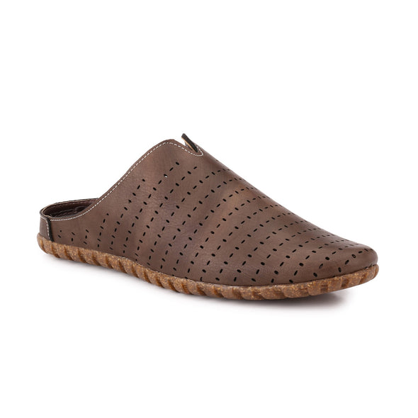 Men Brown Laser Perforated Sandals 2401