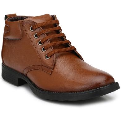 Men Tan High Ankle Formal Lace up Shoes 2805
