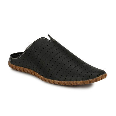 Men Black Laser Perforated Sandals 2401