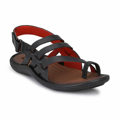 Men Black Genuine Leather Dual Tone Sandals 7004