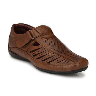 Men Tan Laser Perforated & Grooved Roman Sandals 9006