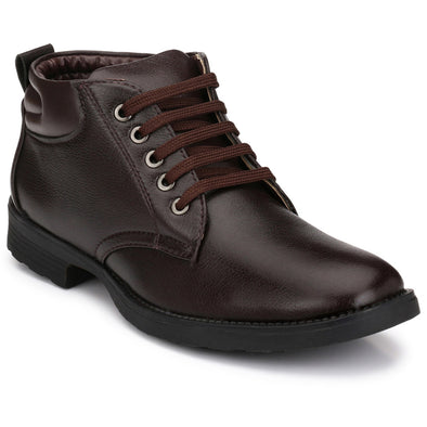 Men Brown High Ankle Formal Lace up Shoes 2805