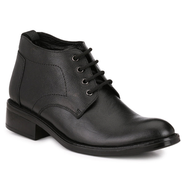 Men Black Genuine Leather Lace up Boots 1012
