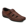 Men Brown Perforated & Grooved Roman Sandals 5015