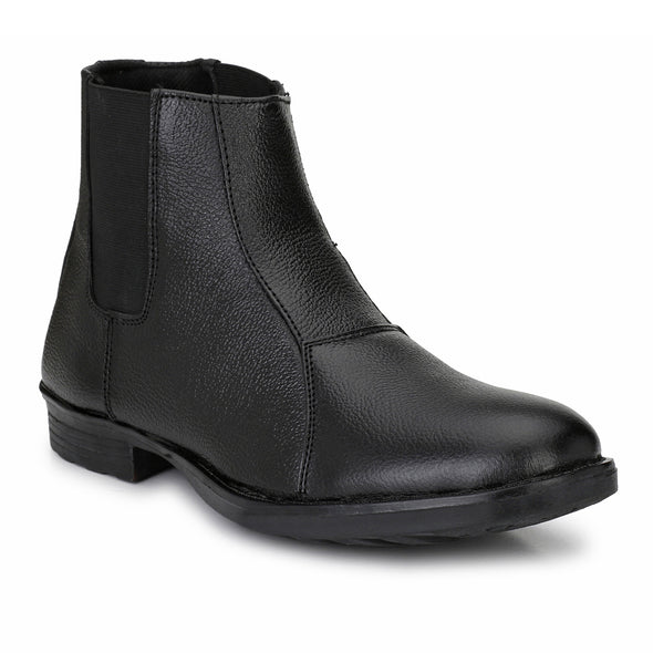 Men Black Genuine Leather chelsea Boots 7035