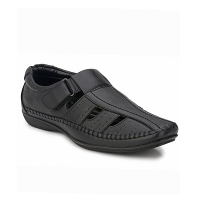Men Black Perforated & Grooved Roman Sandals 5015