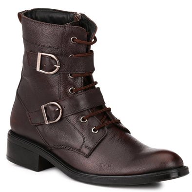 Men Brown Genuine Leather Chain & Lace up Biker Boots 2950