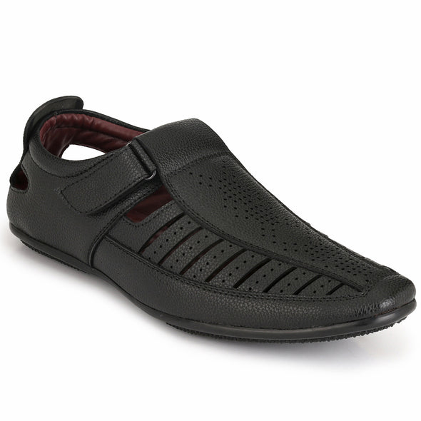 Men Black Laser Perforated & Grooved Roman Sandals 1407