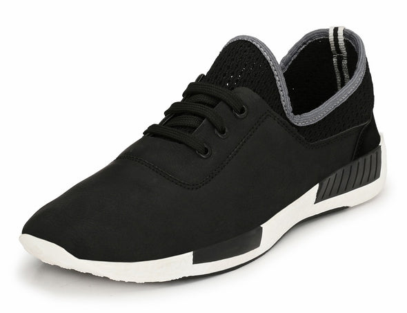 Men black casual fashion lace-up sneakers fashion TPR Sole leather