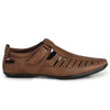 Men Tan Laser Perforated & Grooved Roman Sandals 1407