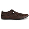 Men Brown Laser Perforated & Grooved Roman Sandals 1407
