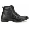 Men Black Genuine Leather Chain & Lace up Boots 7033