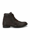 Men Brown Genuine Leather Chain & Lace up Boots 7033
