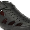 Men Black Long Perforated Roman Sandals 9003