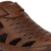 Men Tan Laser Perforated Roman Sandals 9003