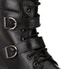 Men Black Genuine Leather Chain & Lace up Biker Boots 2950