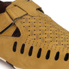 Men Beige Laser Perforated & Grooved Roman Sandals 1405
