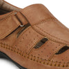 Men Beige Perforated & Grooved Roman Sandals 5015