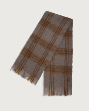 Checks Scarf - Taupe & Chocolate