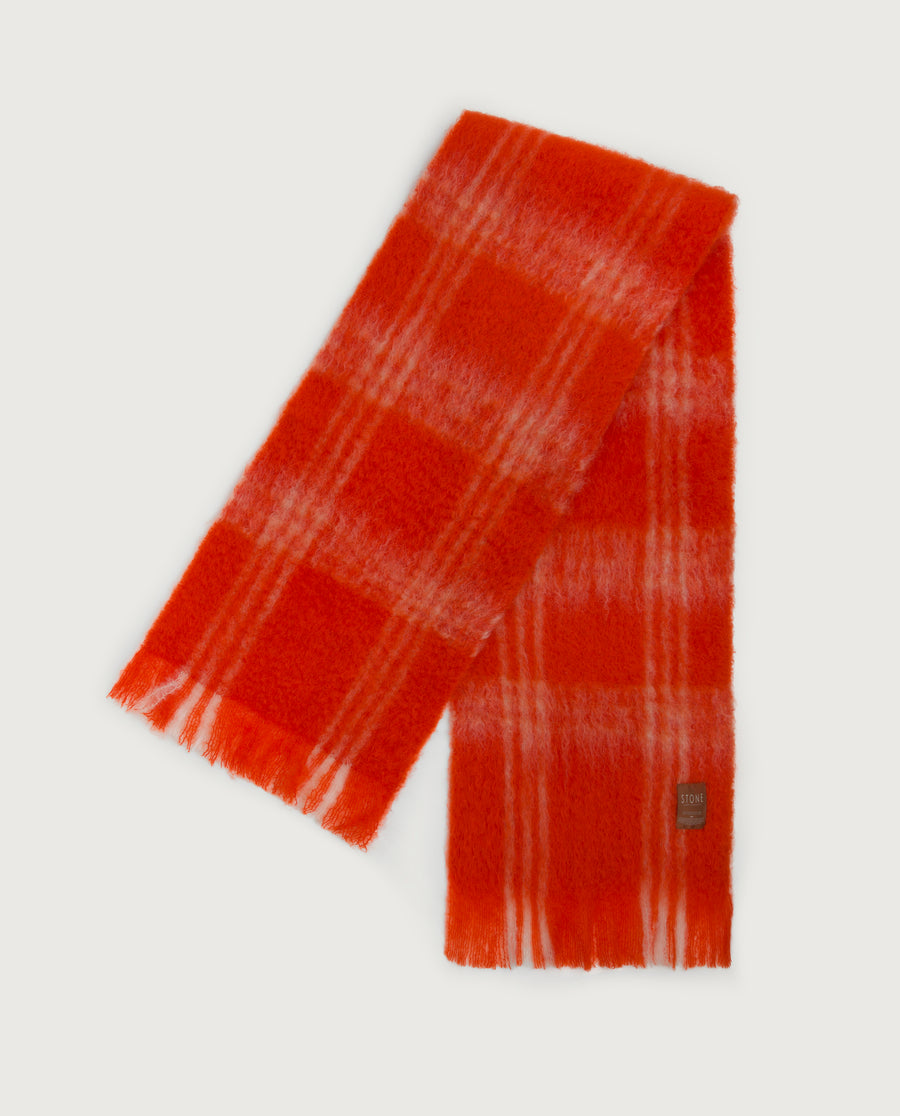 Checks Scarf - Orange & Ivory