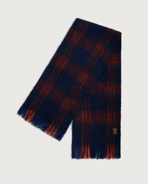 Checks Scarf - Navy & Orange