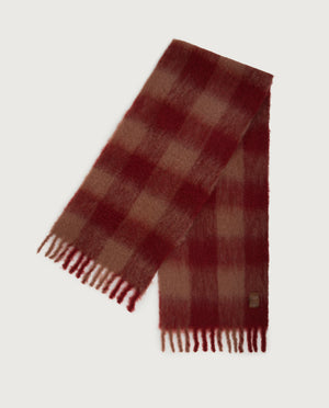 Chess Scarf - Cherry & Nude