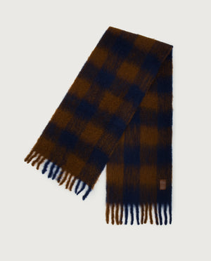 Chess Scarf - Chocolate & Navy
