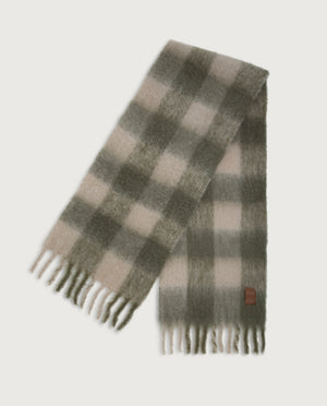 Chess Scarf - Army green & Ivory