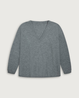 V-Neck Sweater - Light Grey