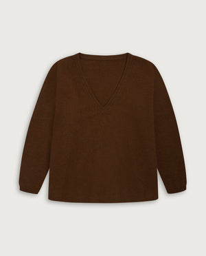 V-Neck Sweater - Milk Chocolate