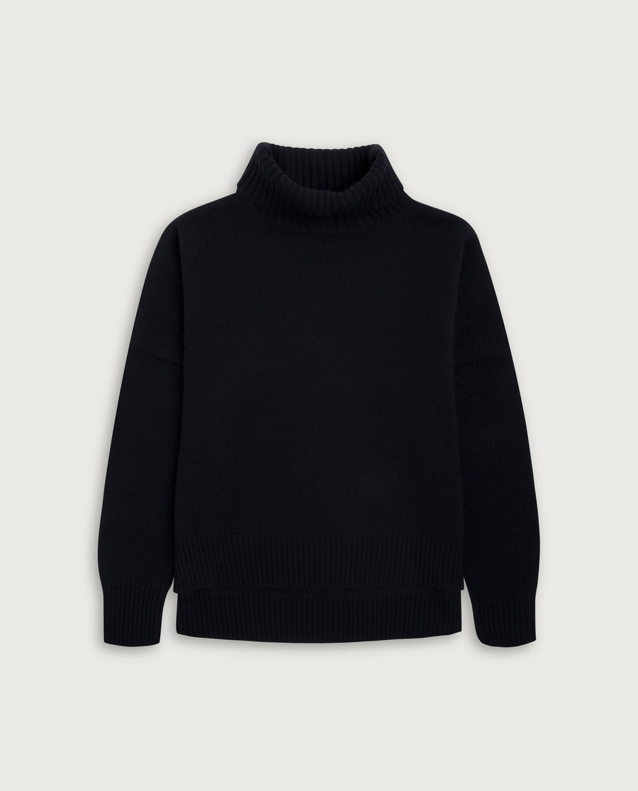 Turtle-Neck Sweater - French Navy Blue
