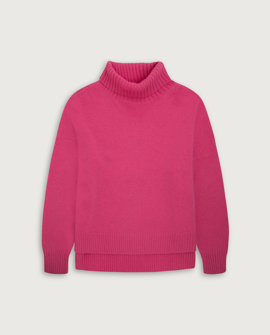 Turtle-Neck Sweater - Happy Pink