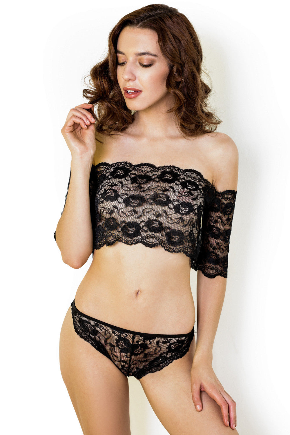 Louise Lace Bardot Set in Black - Luxe Parisian