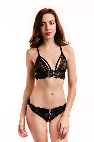 Black Lace Bra and Briefs Lingerie Set