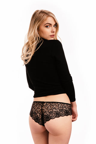 Black Lace Briefs Knickers Set of Three