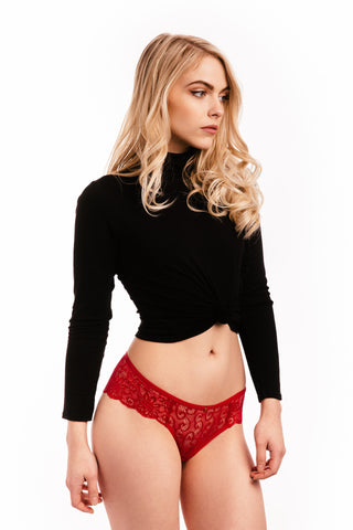 Red Lace Briefs Knickers Set of Three