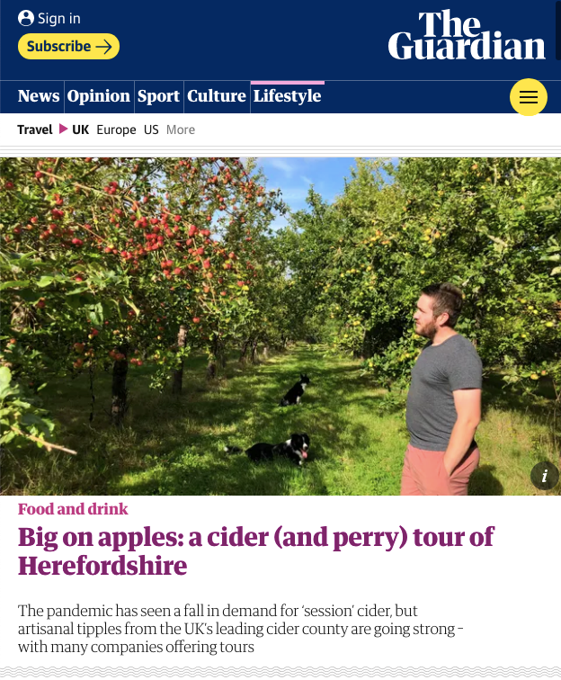 The Guardian - A cider & perry tour of Herefordshire