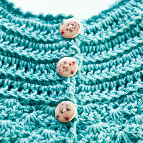 Size 000 Baby Girls Crocheted Cap Sleeve Cardigan Teal Annie
